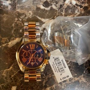 Michael Kors two tone rose gold silver watch